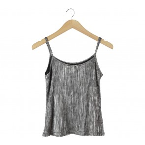 Forever 21 Silver Pleated Sleeveless