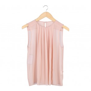 Zara Peach Pleated Sleeveless