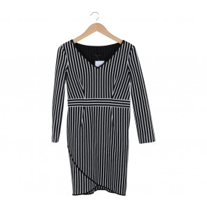 Coast Black And White Striped Midi Dress