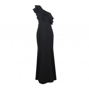 Solemio Black One Shoulder Long Dress