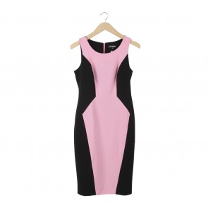 Debenhams Black And Pink Midi Dress