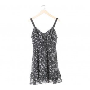 Morgan Black And White Polka Dot Mini Dress