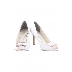 VNC White Open Toe Heels