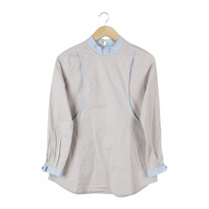 Grey And Light Blue Blouse