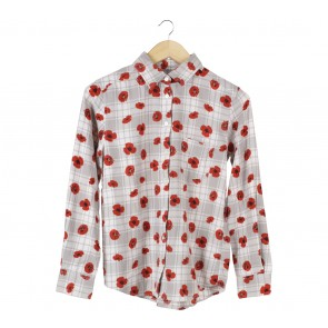UNIQLO Grey And Red Floral Shirt
