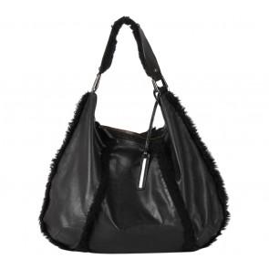 Kenneth Cole Black Furry Leather  Handbag
