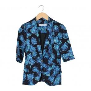 Zara Black And Blue Patterned Blazer