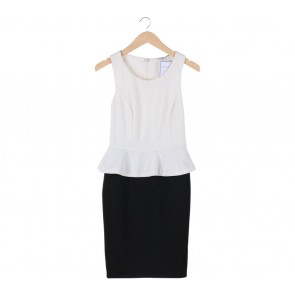 New Look Black And White Peplum Textured Mini Dress