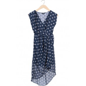 Blue Asymmetric Polkadot Mini Dress