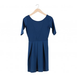 Stradivarius Blue Low Back Cut Mini Dress
