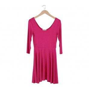 Forever 21 Pink Low Cut Midi Dress
