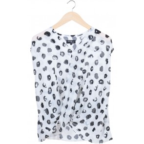 White Animal Print Sleveless Blouse