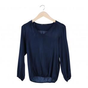 Zara Blue V Neck Blouse