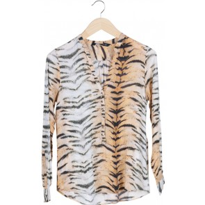 Brown Animal Print V-Neck Blouse