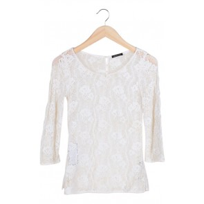 Cream Embroidary Lace Top