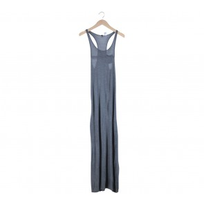 Divided Grey Slit Long Dress