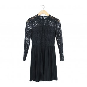 Topshop Black Lace Pleated Mini Dress