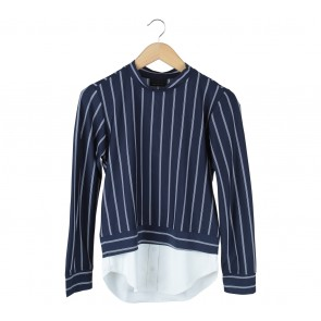 ATS The Label Dark Blue And White Striped Blouse