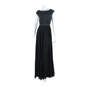 Mango Black And Dark Grey Back Cut Out Pleated Long Dress