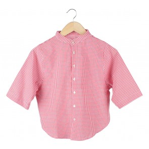 Soep Shop Red And White Plaid Blouse