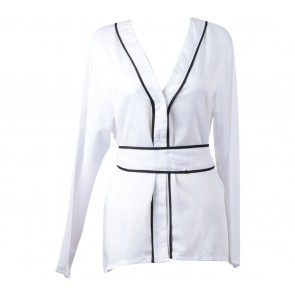 Love + Flair White And Black Belted Blouse