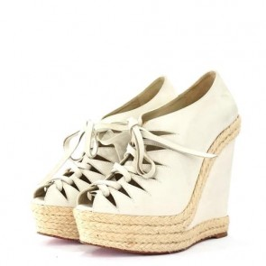 Christian Louboutin Light Grey Wedges