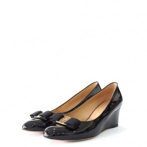 Salvatore Ferragamo Black Patent Wedges