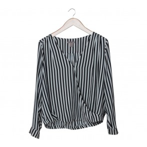 H&M Black And White Striped Wrap Blouse