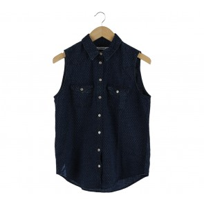 Mango Dark Blue Patterned Sleeveless