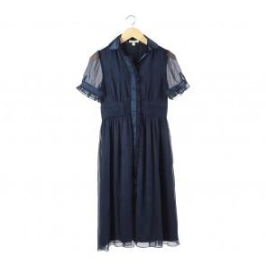 Miss Me Dark Blue Sheer Insert Midi Dress