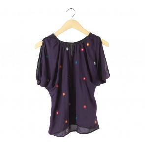 N.Y.L.A Purple Floral Embroidery Blouse