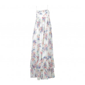 Zara Off White Floral Sleeveless Long Dress