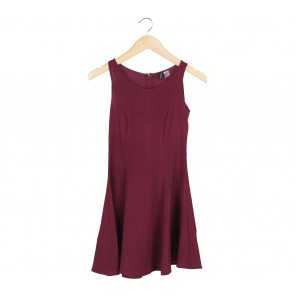 Divided Maroon Mini Dress