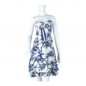 Karen Millen Blue And White Tube Mini Dress