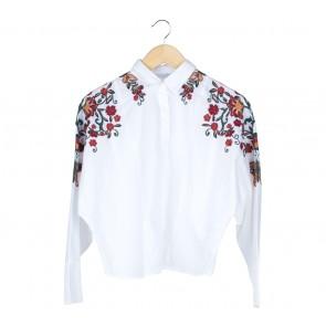 Zara White Embroidery Shirt