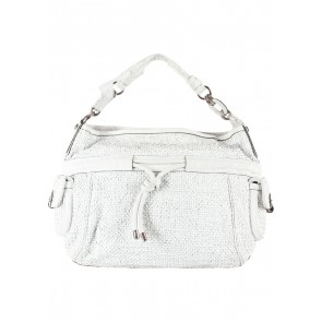 Coach White Kristin Woven Leather Drawstring Large Shoulder Bag