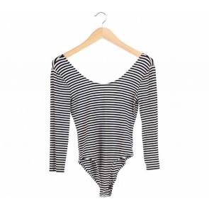 Forever 21 Black And White Stripes Bodysuit Blouse