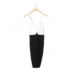 Zara Black And Off White Sleeveless Midi Dress
