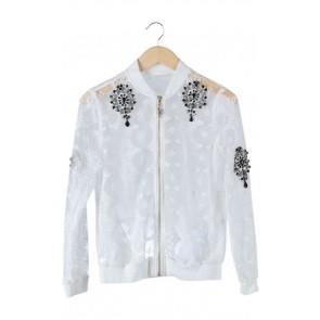 White Lace Beaded Jacket