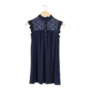 Forever 21 Dark Blue Lace Insert Mini Dress