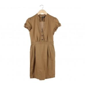 Mango Light Brown Mini Dress