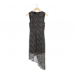 Warehouse Black And Grey Floral Back Cut Out Mini Dress