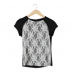 Zara Black And Off White Lace Blouse