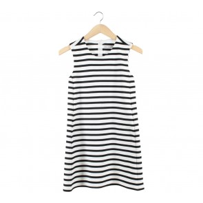 Zara Black And White Striped Sleeveless Mini Dress