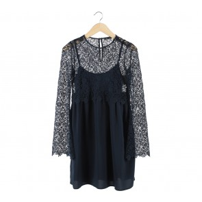 Zara Dark Blue Combi Lace Mini Dress