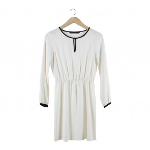 Zara Off White Black Trim Mini Dress