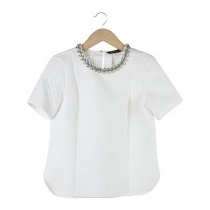 Zara Off White Embellishment Textured  Blouse