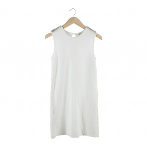 Zara Off White Sleeveless Beaded Mini Dress