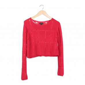 Topshop Red Knit Cropped Sweater