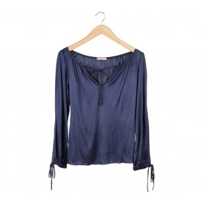Forever 21 Dark Blue Cut Shoulders Blouse